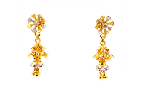 22k 22ct Solid Gold ELEGANT Charm Earring Floral Dangle Design Two Tone e5158