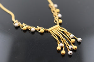 22k 22ct Solid Gold Simple Light Chain Set Modern Two Tone Ball Design cs131