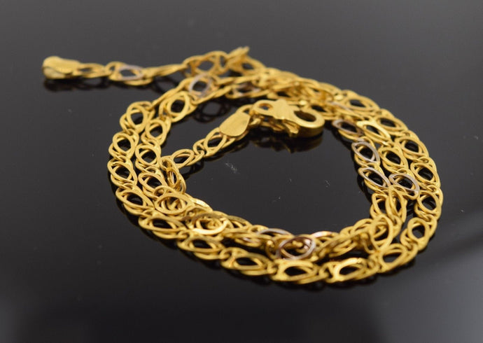 22k Yellow Solid Gold Chain Rope Necklace 3.5mm c47 Square Box Link Design