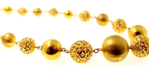 21k 21Ct Yellow Gold Elegant Designer Chain Italian Necklace Ball Design C862 | Royal Dubai Jewellers