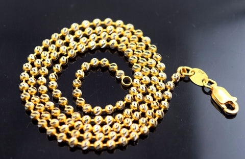 "22k Jewelry Yellow Gold Rope Chain Solid Modern Ball Design Necklace 20"" c308"