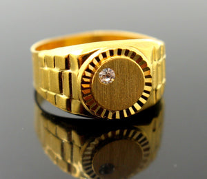 "22k 22ct Solid Gold Men Ring Simple Round Design SIZE 9.0 ""RESIZABLE"" R1305"