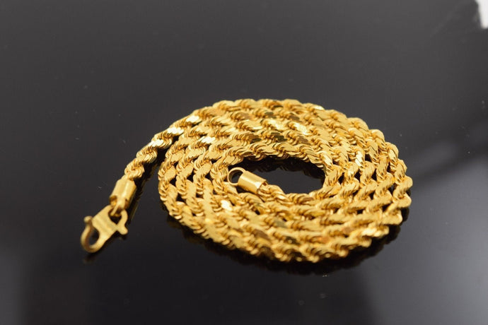 22k Yellow Solid Gold Chain Rope Necklace 3.2 mm 275 Modern Design | Royal Dubai Jewellers