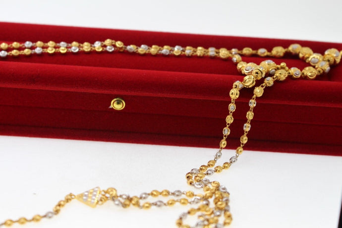 22k Yellow Solid Gold Chain Necklace Simple Two Tone Design Length 26 inch c393