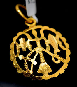 22k Jewely Solid Gold Hindu Religious Lord Shiv TRISHUL Charm Locke p0101