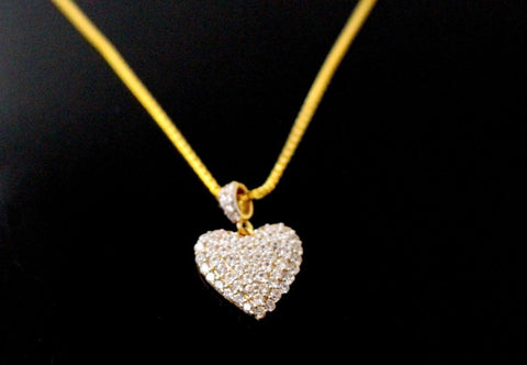 22k Chain Yellow Solid Gold Rope Necklace Simple Charm Heart Design 18 inch c706