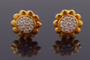 22k 22ct Solid Gold ZIRCONIA TINY DAZZLING FLOWER DIAMOND CUT EARRINGS E1259 | Royal Dubai Jewellers