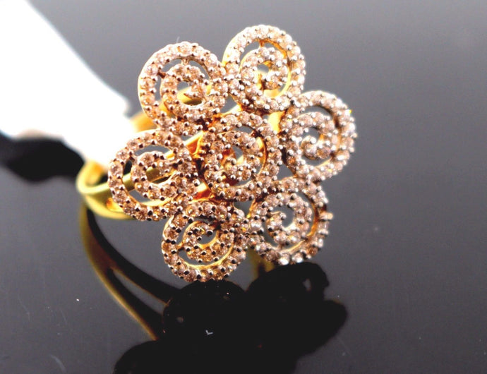 22k 22ct Solid Gold FLOWER ZIRCONIA DESIGNER Ring BAND