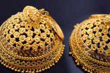 22k 22ct Solid Gold ELEGANT BIG JHUMKE HOOP HANGING EARRINGS with BOX E2016 | Royal Dubai Jewellers