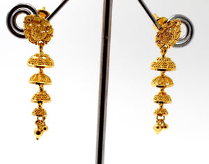 22k 22ct Jewelry Solid Gold ELEGANT LONG JHUMKE DANGLING Earring e5808
