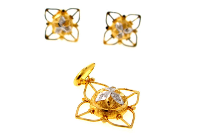22k 22ct Solid Gold Designer Italian Rhodium Flower Pendant Set Earrings p1345