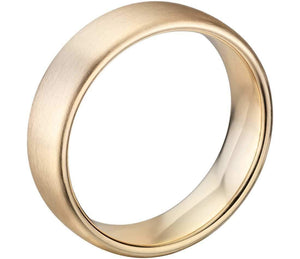 14k Solid Gold Matte Modern Comfort Fit Wedding Ring 6mm Custom Size Avaliable | Royal Dubai Jewellers