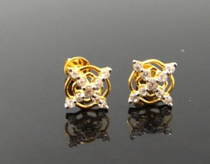 22k 22ct Solid Gold ELEGANT TINY ZIRCONIA TOPS EARRING E5528