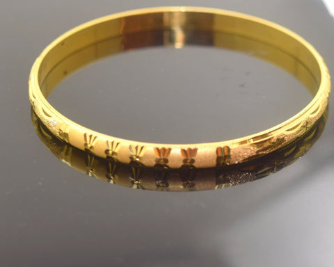 22k Solid Gold ELEGANT WOMEN BANGLE BRACELET Modern Design Size 2.5 inch B289