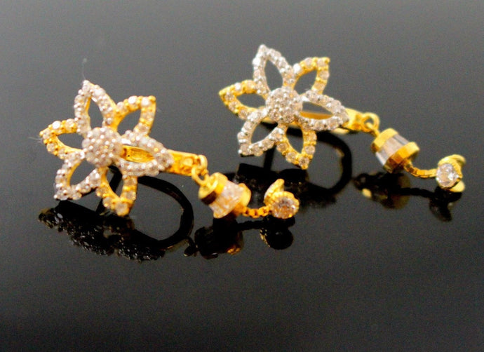 22k Jewelry Solid Gold ELEGANT ZIRCONIA CLUSTERED CLIP ON earrings studs e5502