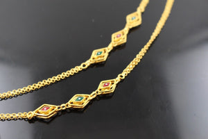 22k Chain Yellow Solid Gold Rope Necklace Antique Enamel Design 28 inch c662