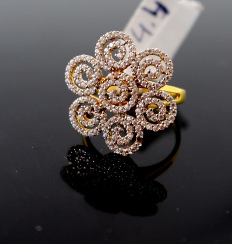 "22k 22ct Solid Gold FLOWER ZIRCONIA DESIGNER Ring BAND ""RESIZABLE"" R116"