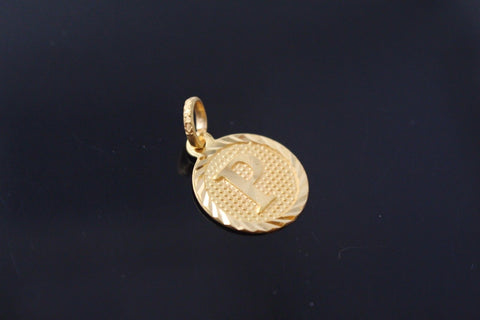 "22k 22ct Solid Gold ""P"" letter Round Charm Pendant p801"