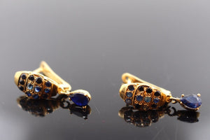 22k Jewelry Solid Gold ELEGANT Blue Sapphire Stone Earring e2147