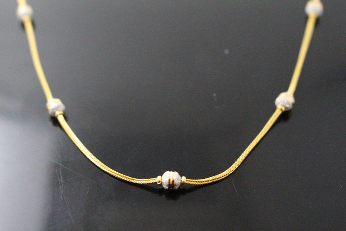 22k Chain Yellow Solid Gold Necklace Modern Ball Design Two Tone 17 inch c717
