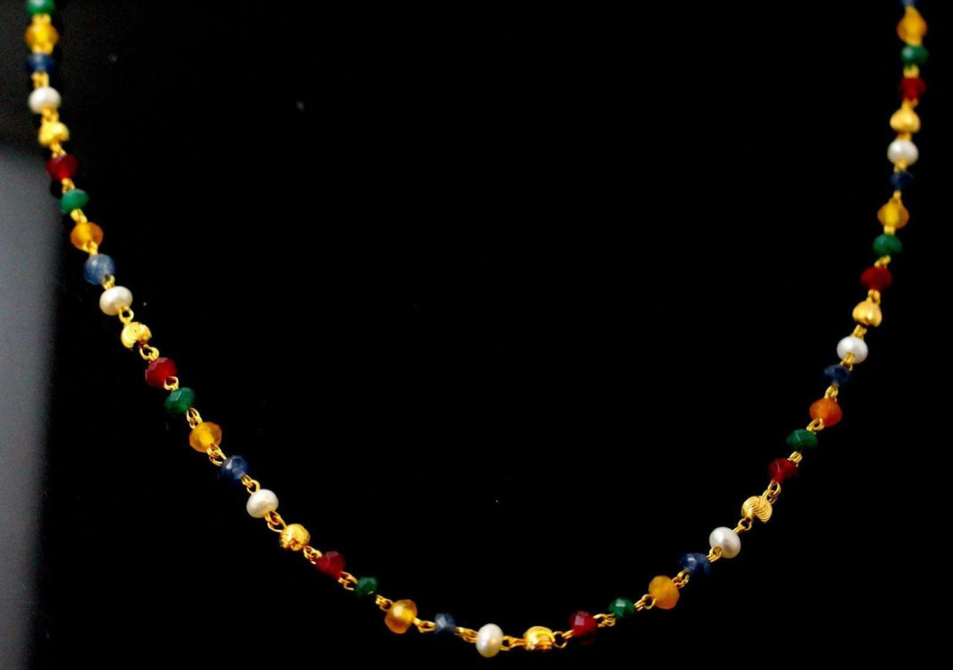 22k 22ct Yellow Solid Gold MULTICOLORED BEADED CHAIN NECKLACE c871 | Royal Dubai Jewellers