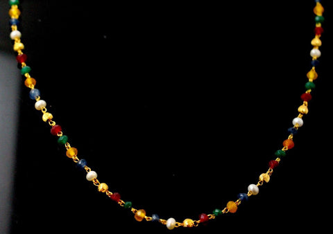 22k 22ct Yellow Solid Gold MULTICOLORED BEADED CHAIN NECKLACE c871
