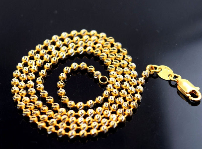22k Jewelry Yellow Gold Rope Chain Solid Modern Ball Design Necklace 20