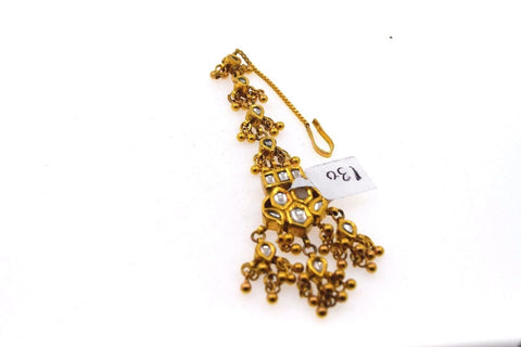 22k 22ct Yellow Gold ELEGANT KUNDAN OXIDIZED MANG TIKKA TIKA BRIDAL WOMAN T16