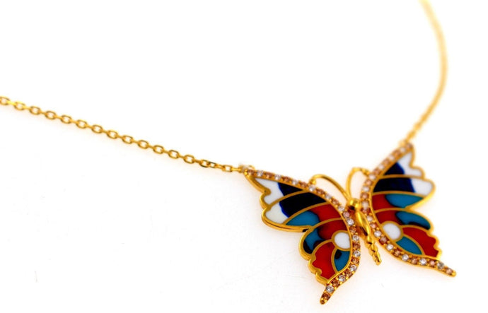 21k 21Ct Yellow Gold Chain Butterfly Colorful Gold Pendent Design C861 | Royal Dubai Jewellers