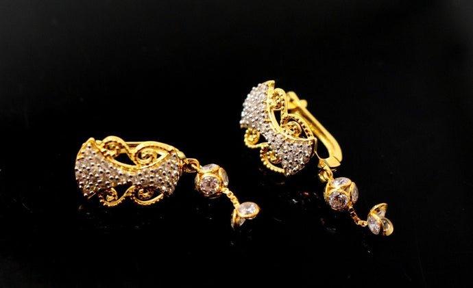 22k Jewelry Solid Gold ELEGANT ZIRCONIA CLUSTERED CLIP ON earrings studs e5480