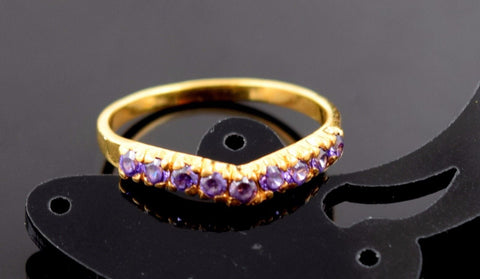 "22k Jewelry Solid Gold ELEGANT Charm Tanzanite Ring Design ""RESIZABLE"" R594"