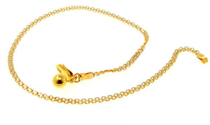 22k 22ct Solid Gold ELEGANT Ladies ANKLET PLAIN FLAT CHARM RHODIUM B784
