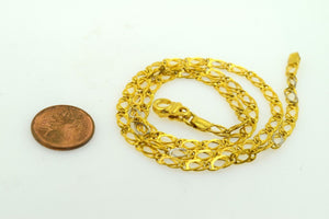 22k Yellow Solid Gold Chain Rope Necklace 3.5mm c47 Square Box Link Design | Royal Dubai Jewellers