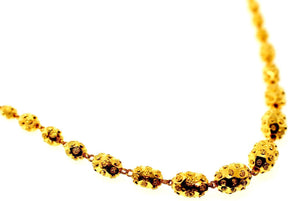 22k Yellow Solid Gold Chain Necklace Diamond Cut Ball Design Length 24 inch c834 | Royal Dubai Jewellers