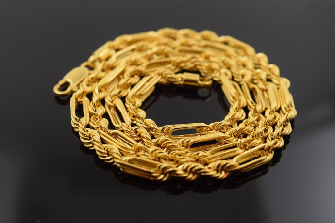 22k Yellow Solid Gold Chain modified Rope Necklace 3mm c167 Modern Design HEAVY