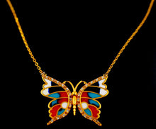 21k 21Ct Yellow Gold Chain Butterfly Colorful Gold Pendent Design C861