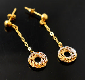 22k 22ct Solid Gold ELEGANT SINGLE STRING ROUND DANGLINGS earrings studs e5455