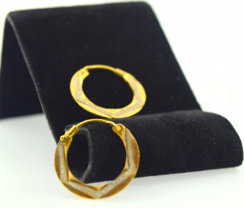 22k Solid Gold ELEGANT ROUND Hoop EARRINGS Two Tone E374
