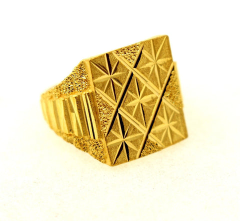 "22k 22ct Solid Gold Men Ring Simple Square Design SIZE 10.5 ""RESIZABLE"" R1309 