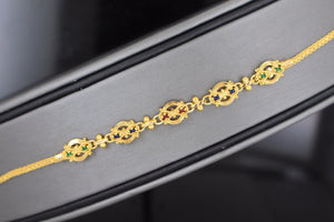 22k 22ct Solid Gold ELEGANT Ladies CHARM Enamal Bracelet B665 | Royal Dubai Jewellers