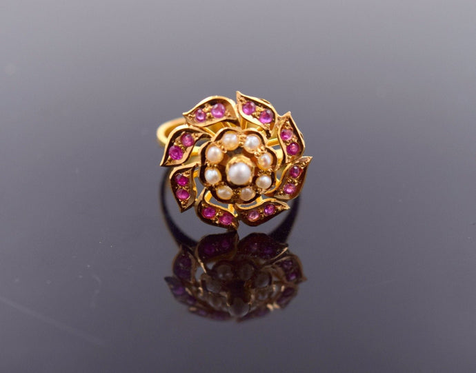 22k Jewelry Solid Gold ELEGANT Ring Unique Charm Ruby Pearl