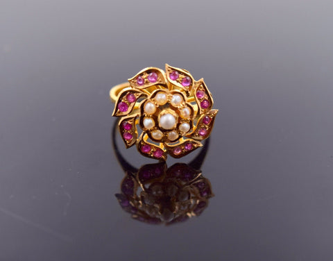 "22k Jewelry Solid Gold ELEGANT Ring Unique Charm Ruby Pearl ""RESIZABLE"" R722"