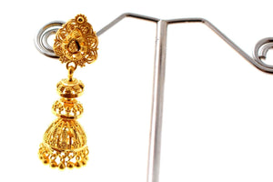22k 22ct Solid Gold ELEGANT LONG JHUMKE EARRINGS Antique Design E5765