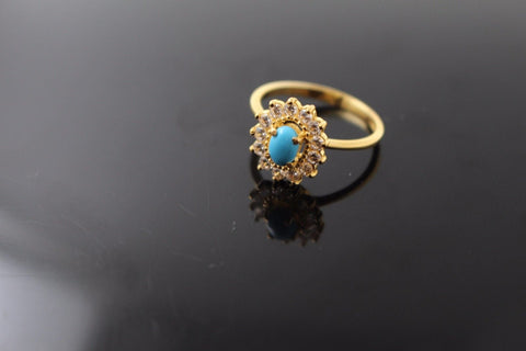 "22k 22ct Solid Gold ELEGANT Ladies Stone Ring SIZE 6.5 RESIZABLE"" R1087"