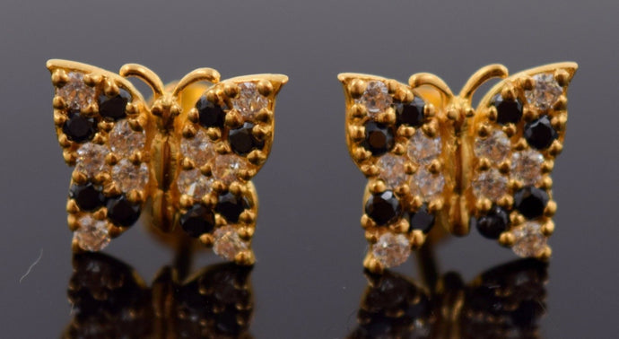22k 22ct Solid YELLOW Gold VINTAGE ZIRCONIA BLACK STONE BUTTERFLY EARRINGS E1253