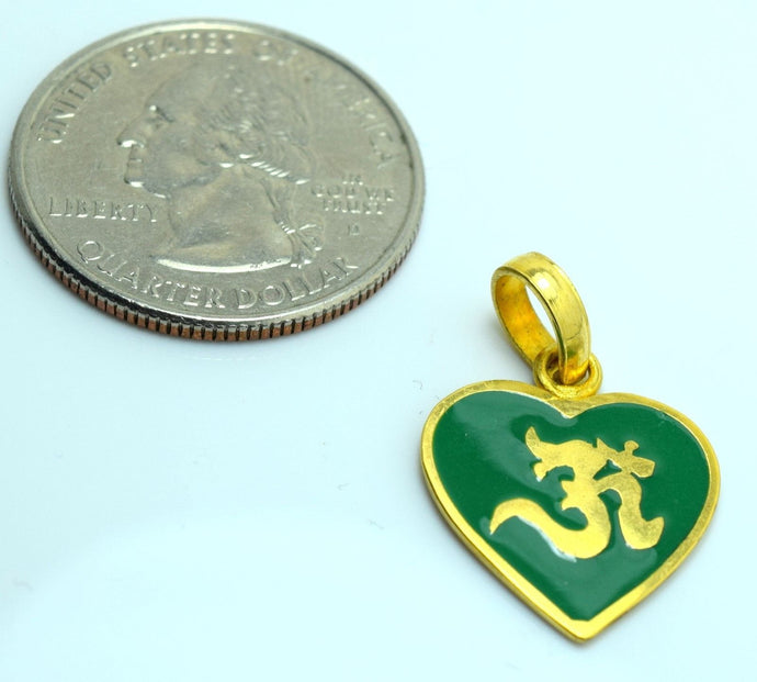 22k Solid Gold Heart Hindu Religious OM AUM OHM pendant charm P06