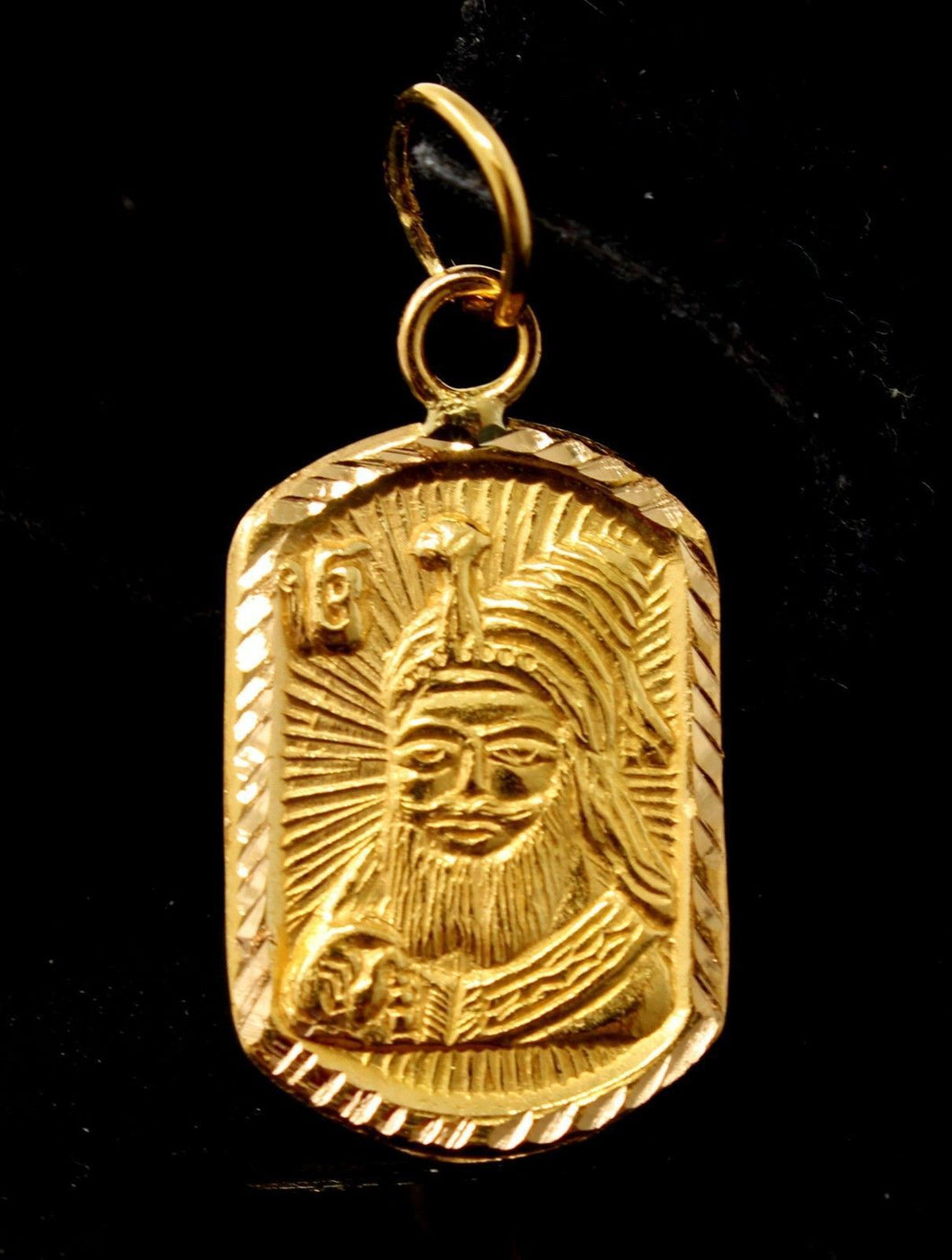 22k 22ct Solid Gold HEART SIKHI RELIGIOUS GURU NANAK JI PENDANT Design p1029 | Royal Dubai Jewellers