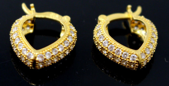 22k 22ct Solid Gold ELEGANT ZIRCON STONE HANGING HOOP EARRINGS E5848