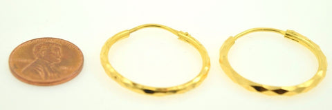 22k Solid gold ELEGANT ROUND Hoop EARRINGS Modern Design E346