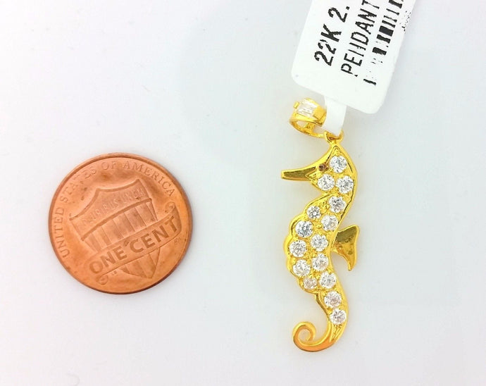22k Jewelry Solid Gold Charm Unique seahorse shape pendant p0055 | Royal Dubai Jewellers